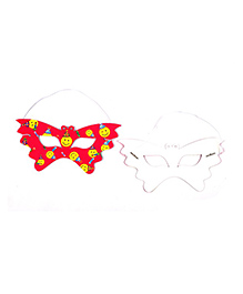 Funcart Smiley Theme Party Eye Mask Red - Pack Of 6