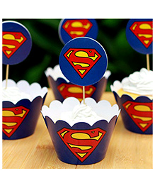 Funcart Superman Cupcake Wraps And Picks - Blue