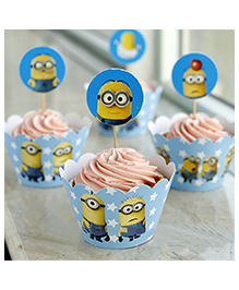 Funcart Minions Cupcake Wraps With Picks - Blue