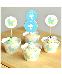 Funcart Blue Pram Cupcake Wraps And Picks
