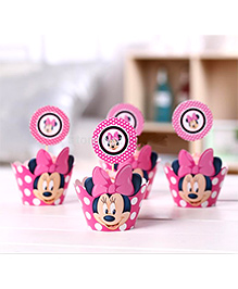 Funcart Polka Dot Minnie Mouse Cupcake Wraps And Picks - Pink