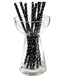 Funcart Polka Dot Print Paper Straws Black - Pack Of 25