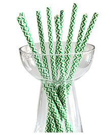 Funcart Paper Straws Green - Pack Of 25