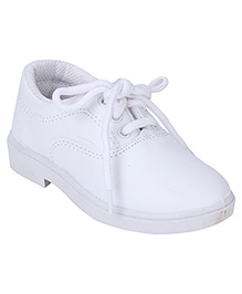 G & D School Shoes Tie Up Closure - White