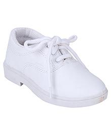 G & D School Shoes Tie Up Closure - White