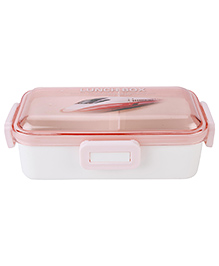 Lunch Box With Transperent Lid Train Print - Peach
