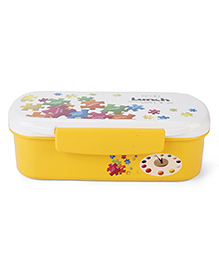 Lunch Box With Spoon Printed - Yellow