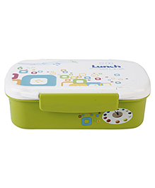 Lunch Box With Spoon Music Note Print - Green