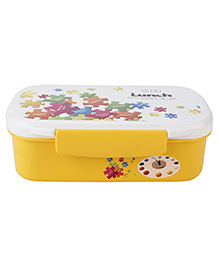 Rectangle Shape Lunch Box With Spoon Printed - Yellow