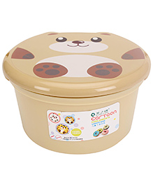 Lunch Box With Spoon Bear Print - Brown