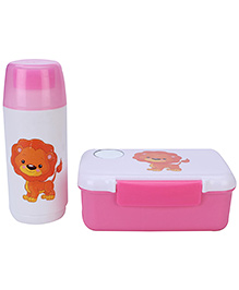 Lunch Box With Spoon And Water Bottle Set Lion Print - Pink And White