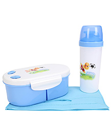 Lunch Box And Water Bottle With Bag - Blue