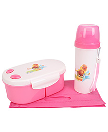 Lunch Box And Water Bottle With Bag - Pink