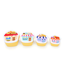 Lunch Box Pack of 4 Stores Print - Yellow