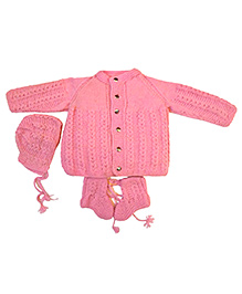 GoCuddle Sweater Cap & Booties Set - Pink