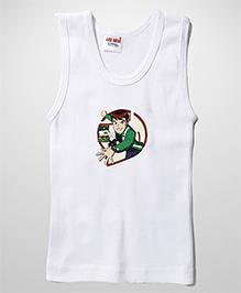 Ben 10 Printed Sleeveless Vest - White