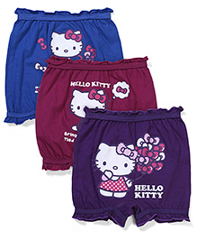 Hello Kitty Printed Bloomers Pack of 3 - Blue Purple Maroon