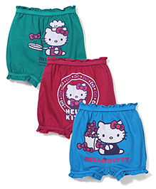 Hello Kitty Printed Bloomers Pack of 3 - Blue Red Green