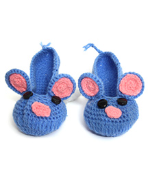Nappy Monster Mouse Booties - Blue