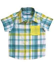 Campana Half Sleeves Checked Shirt - Blue and Yellow
