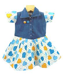 Tiny Toddler Heart Print Denim Dress - Blue