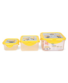 Minion Square Food Containers Yellow 3 Piece Set - 400 Ml, 730 Ml, 290 Ml