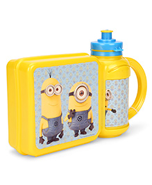 Minions Combo Set Of Lunch Box And Water Bottle - Yellow