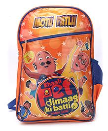 Motu Patlu Khali Pet Print Backpack Orange - 18 inches