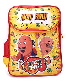 Motu Patlu Samosa Power Print Backpack Red & Yellow - 16 inches