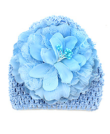 Pikaboo Peony Floral Crochet Baby Cap - Blue