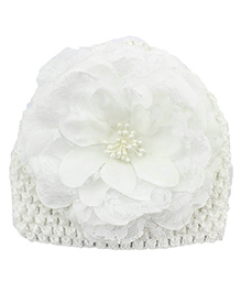 Pikaboo Peony Floral Crochet Baby Cap - White
