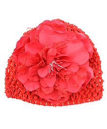 Pikaboo Peony Floral Crochet Baby Cap - Red