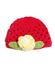 Pikaboo Crochet Woolen Baby Cap With Flower - Red