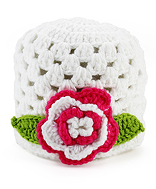 Pikaboo Crochet Woolen Cap With Floral Applique - White And Pink