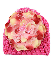Pikaboo Peony Floral Crochet Baby Cap - Pink