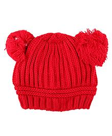Pikaboo Woolen Bunny Baby Cap - Red 6-24 M Wool