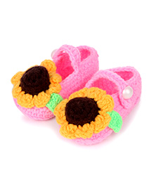 Pikaboo Crochet Floral Booties - Pink