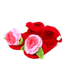 Pikaboo Crochet Floral Booties - Red