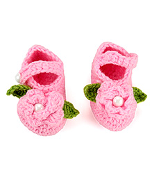 Pikaboo Crochet Baby Booties Floral Applique - Pink
