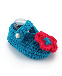 Pikaboo Crochet Baby Booties Floral Applique - Teal Blue