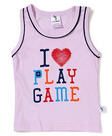 Cucumber Sleeveless T-Shirt I Love Play Game Print - Pink