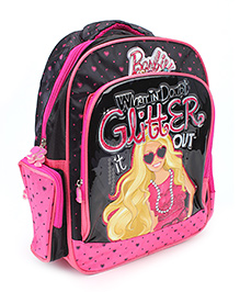 Barbie Glitter It Out School Backpack Pink And Black - 14 inches