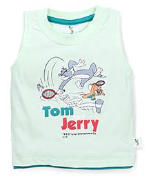 Cucumber Sleeveless T-Shirt Tom And Jerry Print - Light Green
