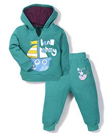 Babyhug Hooded T-Shirt And Pant Boat Print - Green