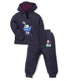 Babyhug Hooded T-Shirt And Leggings Ship Print - Dark Grey