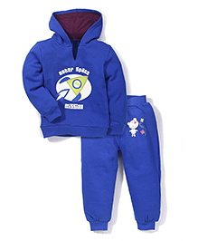 Babyhug Hooded T-Shirt And Leggings Outer Space Print - Royal Blue