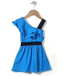 Superfie Stylish Ruffle Dress - Blue