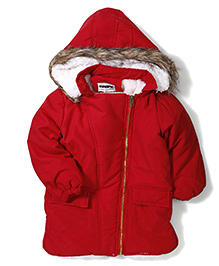 Superfie Winter Jacket With Hood - Red