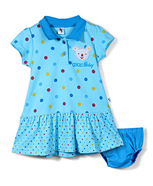 Cucumber Short Sleeves Frock With Bloomer Polka Dots Print - Blue