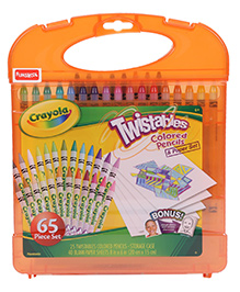 Funskool Crayola Twistable Colored Pencil And Paper Sheets Set - 65 Pieces